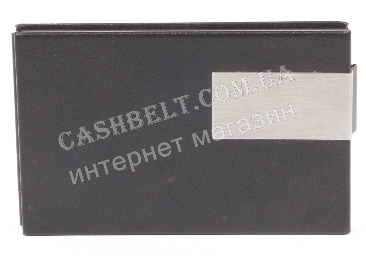 Стильная прочная тонкая визитница для своих визиток art. 2240 метал/кожа черная