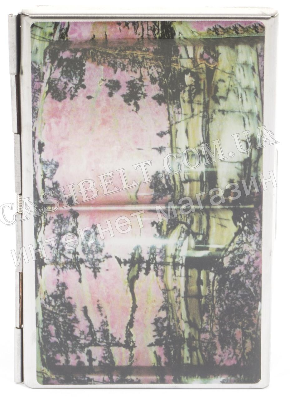 Прочная металичесская визитница для своих визиток art.рисунок природа