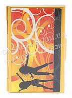 Прочная металичесская визитница для своих визиток art.рисунок танцы в золоте