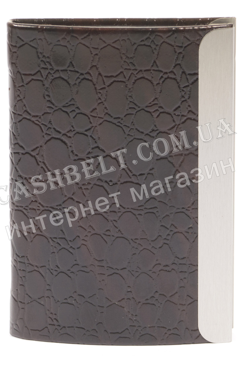 Стильная прочная выпуклая визитница лак для своих визиток art. метал/кожа черная
