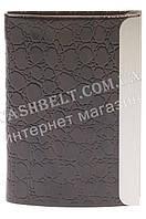 Стильная прочная выпуклая визитница лак для своих визиток art. метал/кожа черная, фото 1