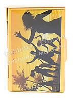 Прочная металичесская визитница для своих визиток art.рисунок танцы на природе в золоте