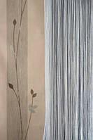 Ниточные шторы однотонные серые (7)