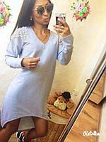 Красивое, стильное, ассиметричное платье-туника декорировано жемчугом
