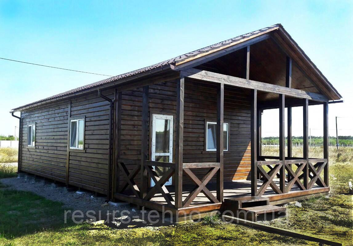 Дачный домик 9м х 6м с террассой и внутренней отделкой вагонкой