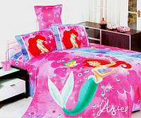 Детское постельное белье Русалочка Ариэль, полуторное,  сатин люкс. Украина, розовый