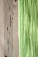 Веревочная штора кисея однотонная салатовая  (15)
