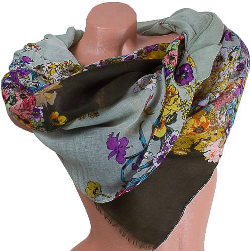 Шикарный женский шарф из хлопка 184 на 87 см  ETERNO (ЭТЕРНО) ES0908-4-3 зеленый