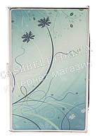 Тонкая металическая визитница для своих визиток с рисунком art.ростки на голубом фоне