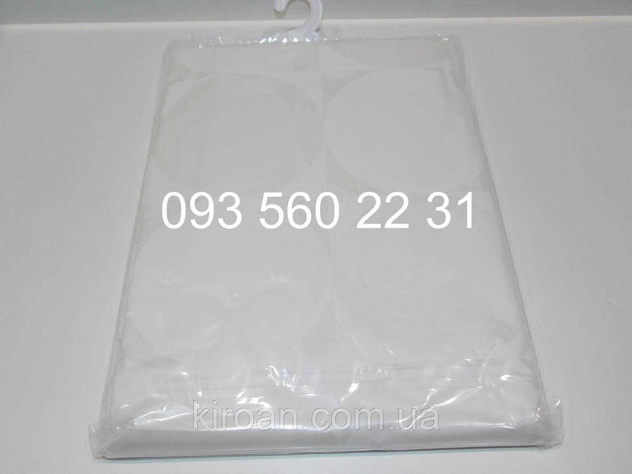 Клеенчатая шторка для ванной/душа,цвет - белый PEVA 180х180 см ЭКОНОМ