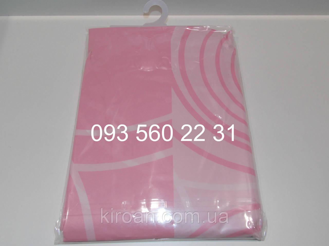 Клейончасті шторка для ванни/душа,рожева PEVA180х180 см ЕКОНОМ