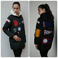 куртка женская молодежная с нашивками оптом
