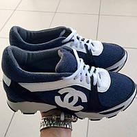 Кросовки Chanel вязка темно-синие