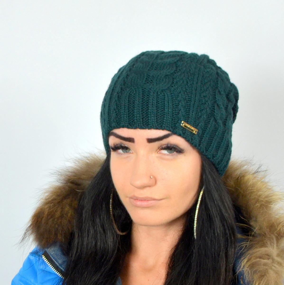 "Женская шапка NORD ""Imbir""  Бутылочный (зеленый)"
