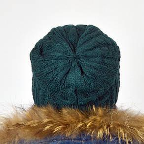 """Женская шапка NORD """"Imbir""""  Бутылочный (зеленый), фото 2"""