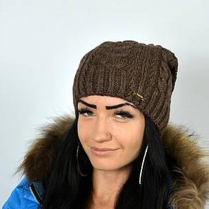 "Женская шапка NORD ""Imbir""  Шоколад, фото 2"
