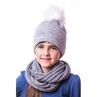 Детская вязаная шапка на девочку со стразами и помпоном
