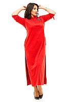 Длинное платье свободного кроя из эко замши больших размеров