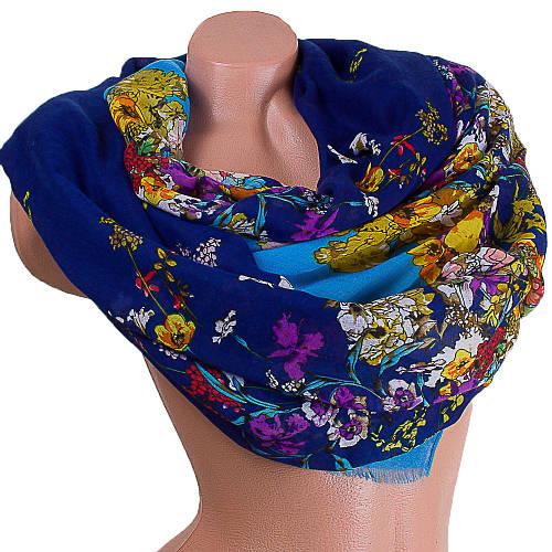 Стильный женский шарф из хлопка 186 на 84 см  ETERNO (ЭТЕРНО) ES0908-4-1 голубой