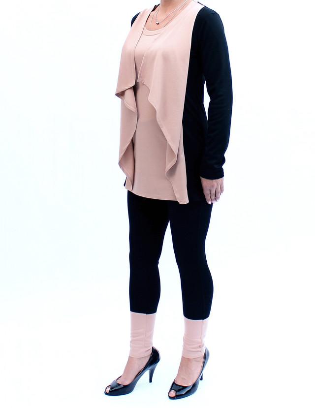 костюм туника-кардиган и брюки с имитацией манжета фото teens.ua