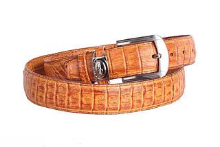 Ремень из кожзама с отделкой под кожу крокодила янтарный