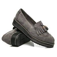 Женские туфли (мокасины) замшевые серые с кисточками