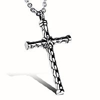 Крест мужской с цепочкой из медицинской стали