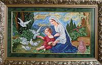 """Вишивка бісером """"Богородиця і голуби"""" 65.62 х 33.87 см"""