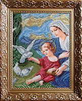 """Вишивки бісером """"Богородиця і голуби"""" 25.40х33.87"""