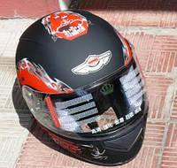 Шлем чёрный матовый с рисунком