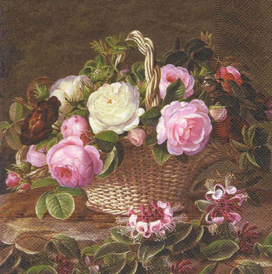 Серветка декупажна Кошик з трояндами 1077