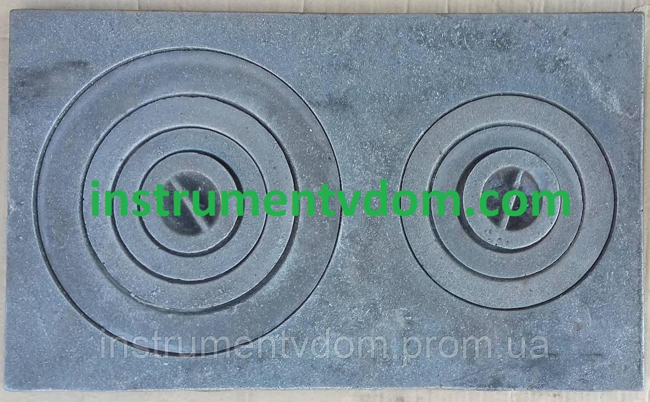 Плита чугунная 2-х конфорочная малая (58х35 см)