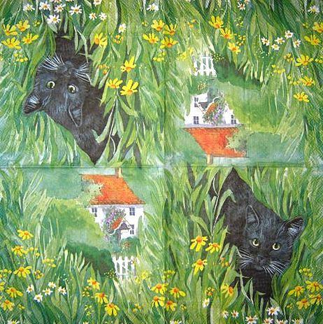 Коллекционная декупажная салфетка Чёрный кот 2173