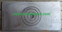 Плита печная чугунная 1-конфорочная прямоугольная, 62х32 см (кокиль)