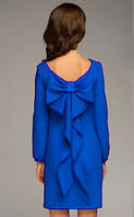 Платье с бантом на спине электрик