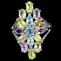 Кольцо с натуральными камнями мультиколор -  АМЕТИСТОМ, ПЕРИДОТОМ, ЦИТРИНОМ И ГОЛУБЫМ ТОПАЗОМ
