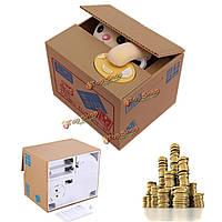 Интерактивная копилка кот в коробке забирает монетку