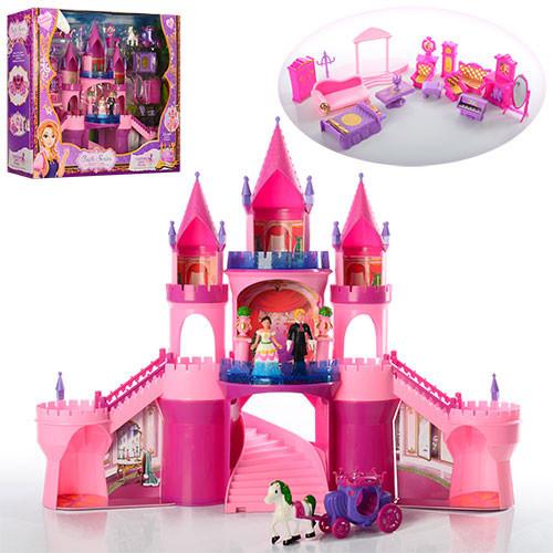 Замок SG-29001 (4шт) принцессы,57-46-15см,муз,св,мебель,фигурки 2шт от6,5см,карет,в кор,57,5-47-17см