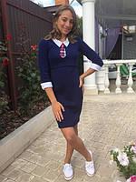 """Платье """"Марлен"""" для девочек 12-18 лет с галстуком венгерский трикотаж Lili Kids"""