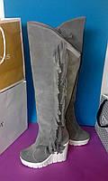 Женские осенние ботфорты от TroisRois из натуральной турецкой кожи и замша