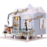 Hoomeda DIY деревянная миниатюрная медовый месяц с LED мебель музыка обложка кукольный дом