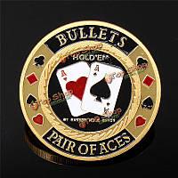Металлический покер охранник карта протектор чип монета золотой цвет высевают с круглым пластиковом корпусе
