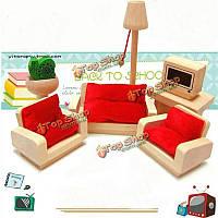 Деревянная кукла дом гостиной установлен диван стол мебель кукольный миниатюрный малыш ролевые игры подарок игрушки