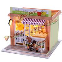 Hoomeda DIY дерево кукольный миниатюрная с LED + мебель + крышка чайный домик