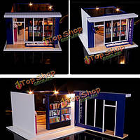 Hoomeda DIY дерево кукольный миниатюрная с LED мебель крышки книжного магазина