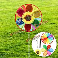 Подсолнечника мельница ветра вертушка радуги колесо волчок сад газон двор декор