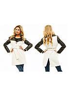 Женское пальто кожаный  рукав  р.42,44,46 - белый