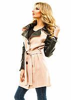 Женское пальто кожаный  рукав  р.42,44,46 - розовый