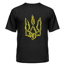 Черная мужская футболка с тризубцем из колосков