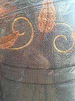Нежное махровое полотенце Листики. Размер: 1,5 x 1,0